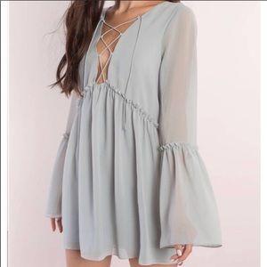 Tobi long sleeve flowy dress with ruffle detail